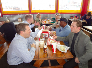 Several Chamber members enjoy Steve's fantastic dogs, new brew from the Bull & Bush, and great conversation!